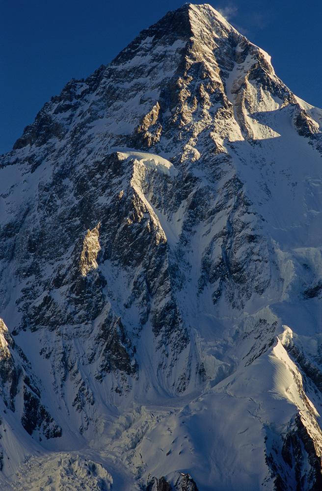 Telephoto from Concordia of the entire south face of the mountain rising above base camp.Nikon F5, 180mm