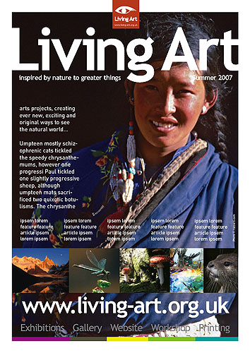 The front cover of the commercial advertising rate-sheet for this brand new UK arts magazine. The image used is a 645 transparency of a pilgrim at Mount Kailas in Western Tibet