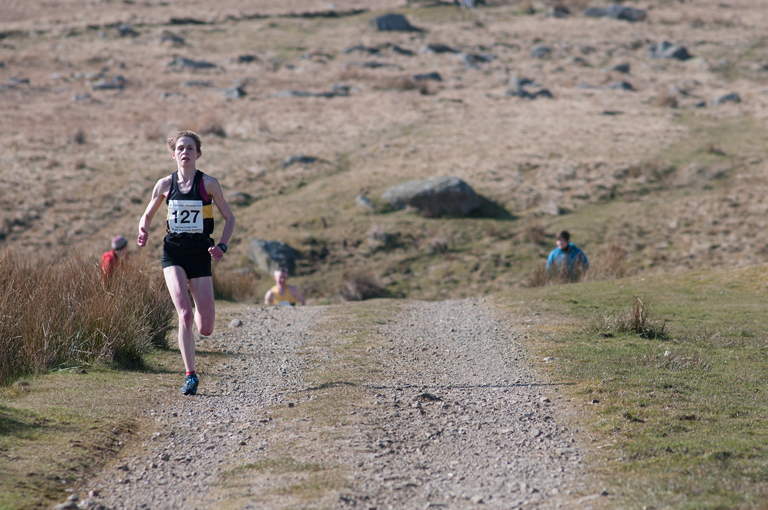 The inaugural Carrock Fell Race - a 9km race from Calebreck to the summit of Carrock and back over High Pike - was run on 20th March 2016.The womens' race was won by Heidi Dent, who was only six or so minutes behind Ricky Lightfoot. Here she approaches the finish.