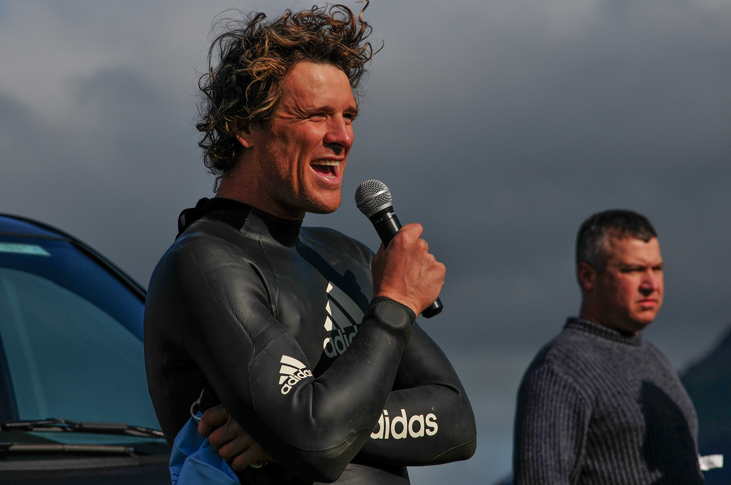Keswick Mountain Festival 2009International sports superstar and double Olympic gold medallist James Cracknell addresses the competitors at the starti of the triathlon.