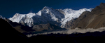 Cho Oyu and the peaks at the head of the glacier, seen from centre of the glacier on the crossing between Gokyo and TagnagNikon D300, 17-35mm