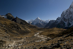 Approaching Dzongla, on the descent from the Cho La, with Ama Dablam straight ahead, and the fearsom north face of Cholatse in shado on the rightNikon D300, 17-35mm