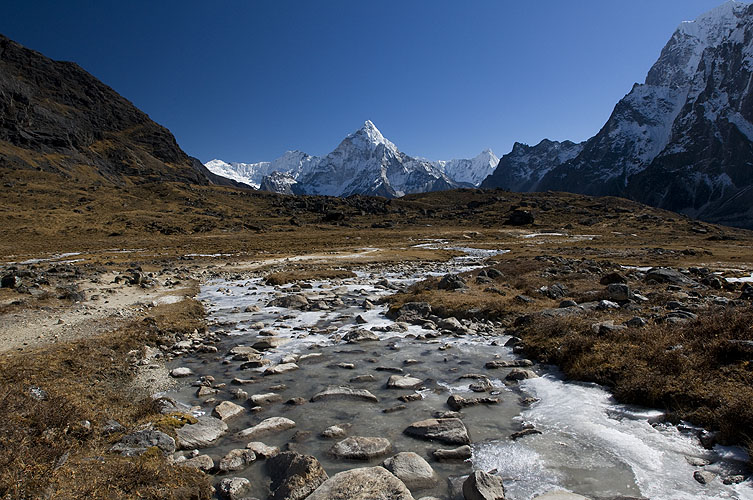 A view over Dzongla to Ama Dablam and the north face of CholatseNikon D300, 17-35mm