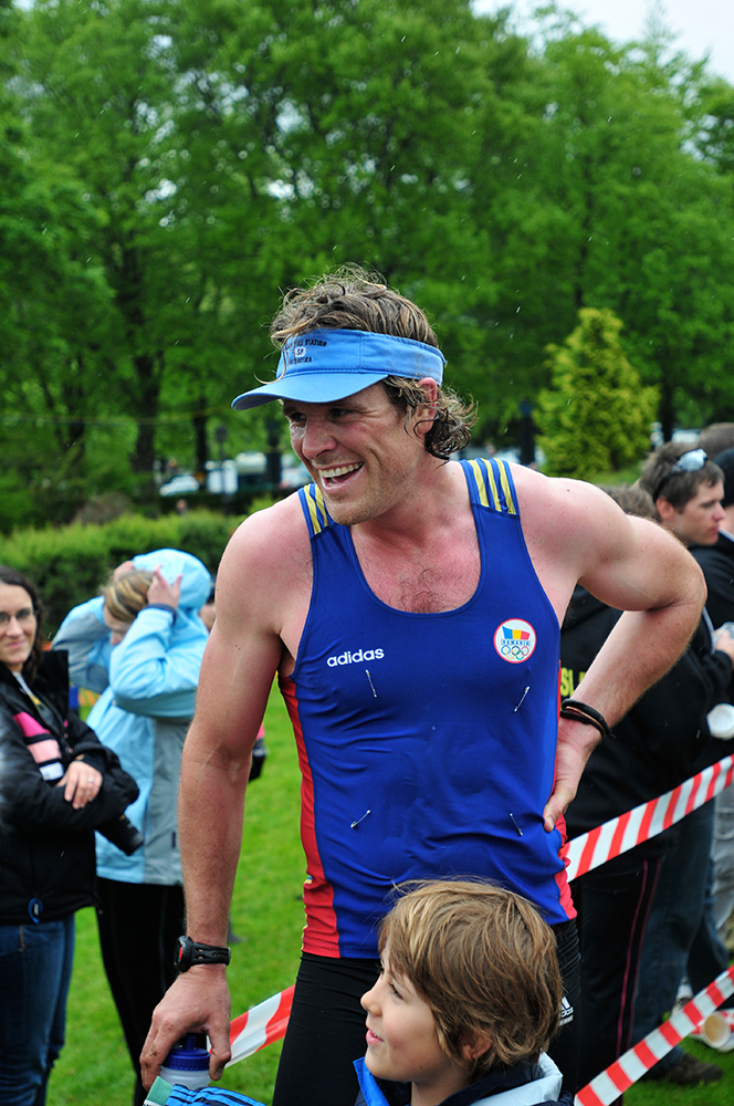 Keswick Mountain Festival 2009.James Cracknell, double Olympic gold medallist, after completing the triathlon