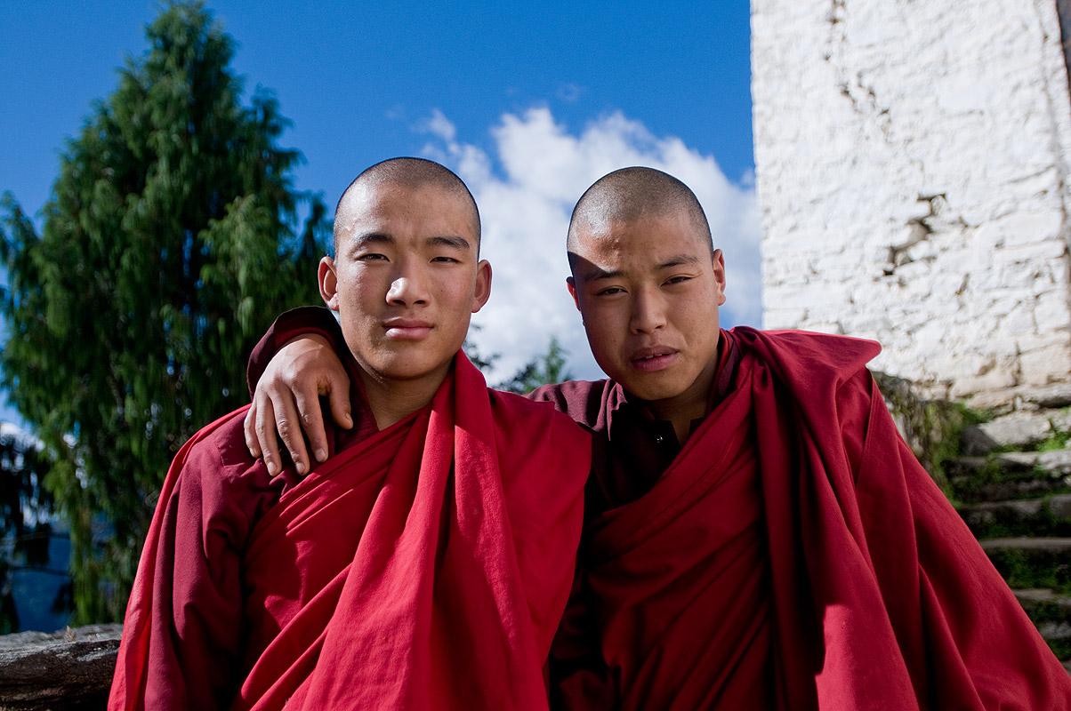 Monks at Gasa Dzong, Central Bhutan