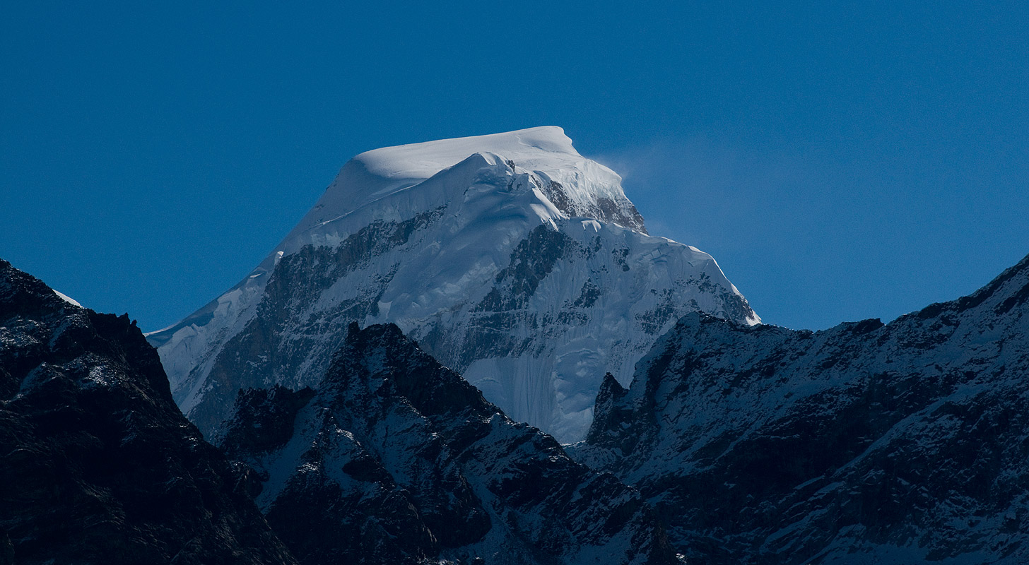 The impressive bulk of this remote peak on the Bhutan / Tibet border, seen from above the upper Togtserkhagi Chhu valley near Laya village.Nikon D300, 180mm