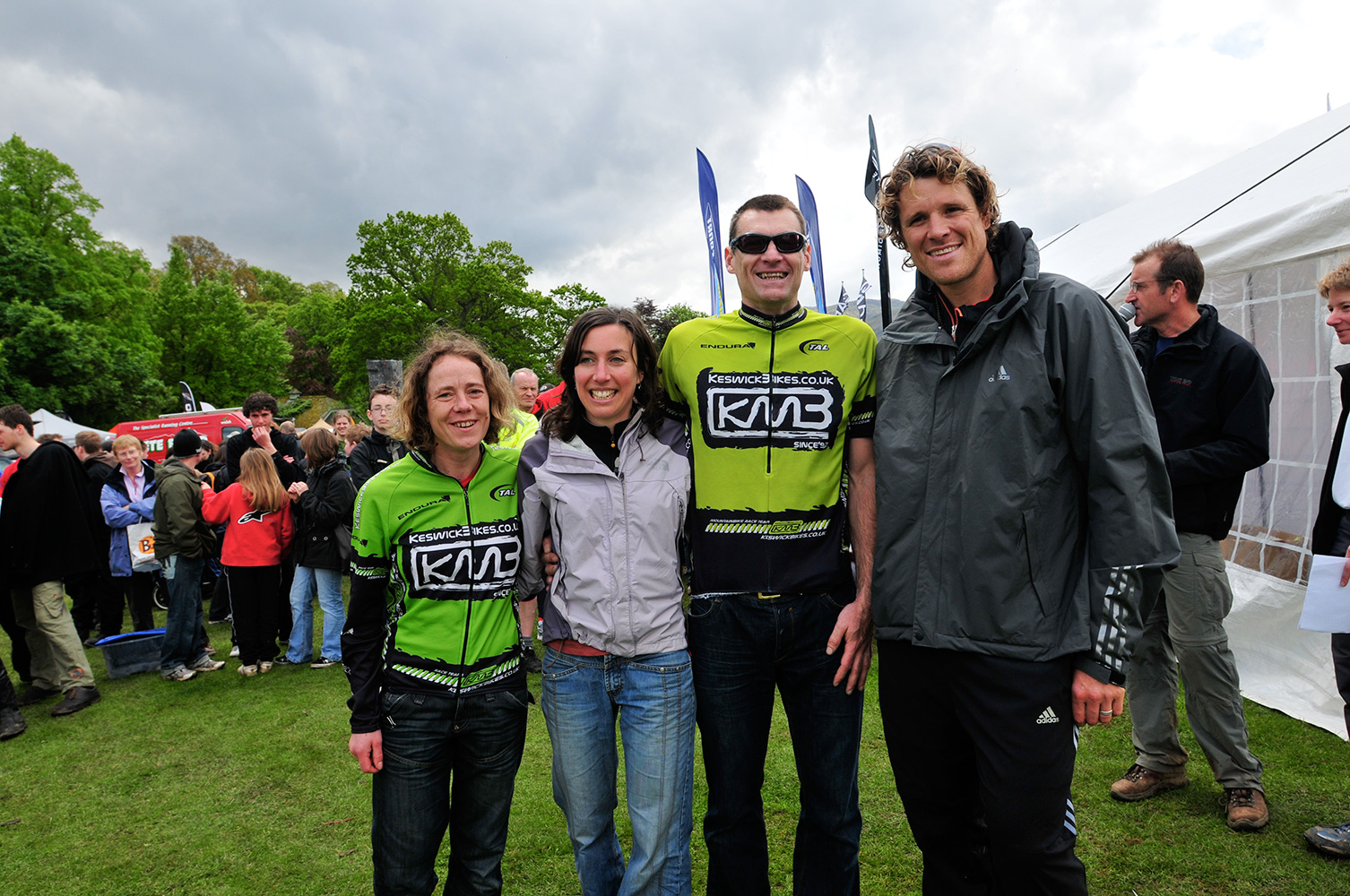 Team Chez collecting their medals for winning the relay race from international sports superstar James Cracknell