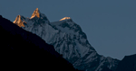 At sunset from Take Hankhar in the Mo Chhu valley below Laya villageNikon D300, 180mm