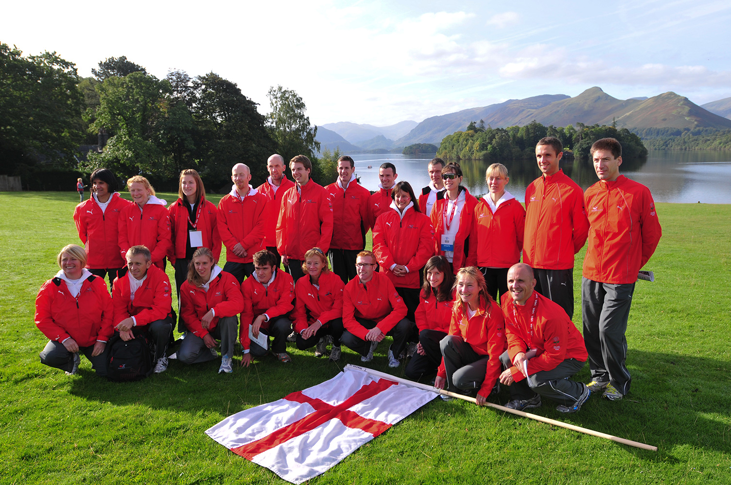 Keswick, Cumbria, September 2009Team England in Bitts Park after the opening ceremony.