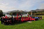 Keswick, Cumbria, September 2009Athletes assembled in Bitts Park with Derwentwater etc beyond, after the opening ceremony.