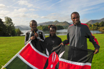 Keswick, Cumbria, September 2009Team Kenya! Pamela Bundotich, Wilson Chemweno & manager in Bitts Park after the opening ceremony in the Theatre by the Lake