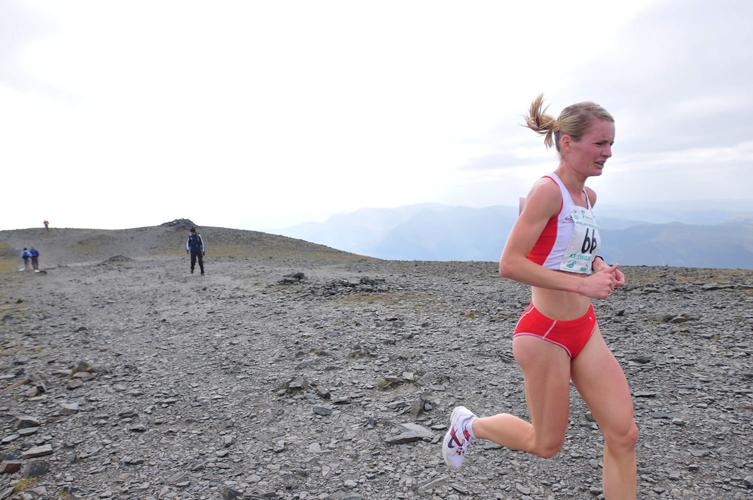 Keswick, Cumbria, September 2009Katie Ingram chasing Anna Frost to the summit of Skiddaw to claim the silver medal in the Women's Up-hill Mountain race for England
