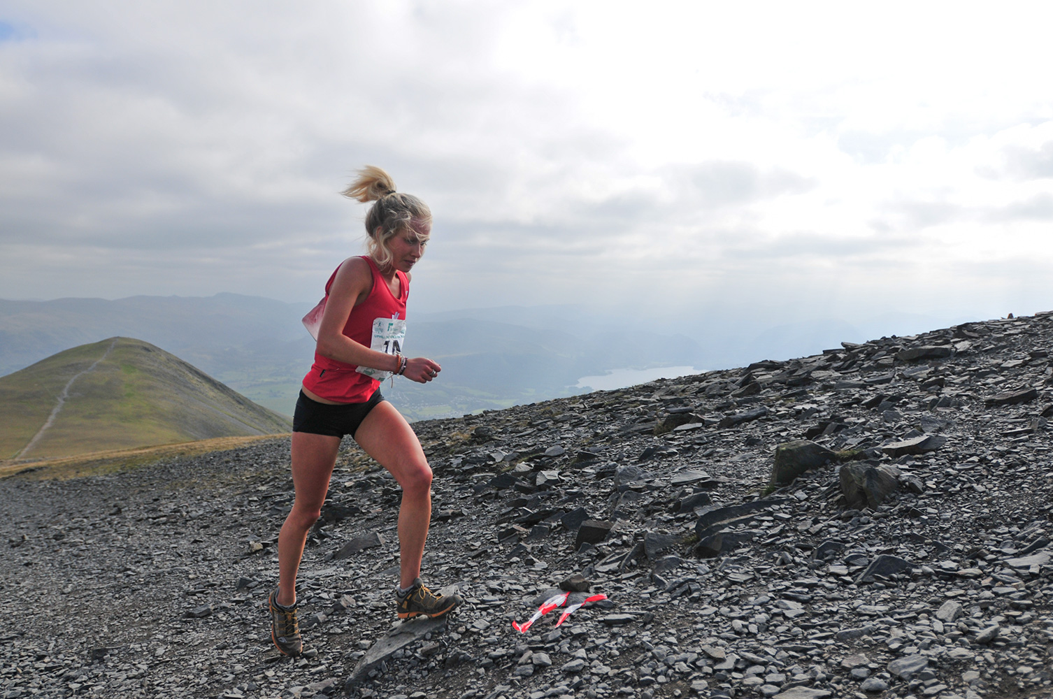 September 2009, Keswick, CumbriaGina Paletta running for Wales in the women's up-hill mountain race.