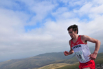 Keswick, Cumbria, September 2009.Kris Swanson of Canada takes the bronze in the Mens' Uphill Race on the summit of Skiddaw.