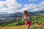 Keswick, Cumbria, September 2009.Sarah Tunstall leads the  Womens' Fell Race on Latrigg, chased by the eventual winner, Katie Ingram