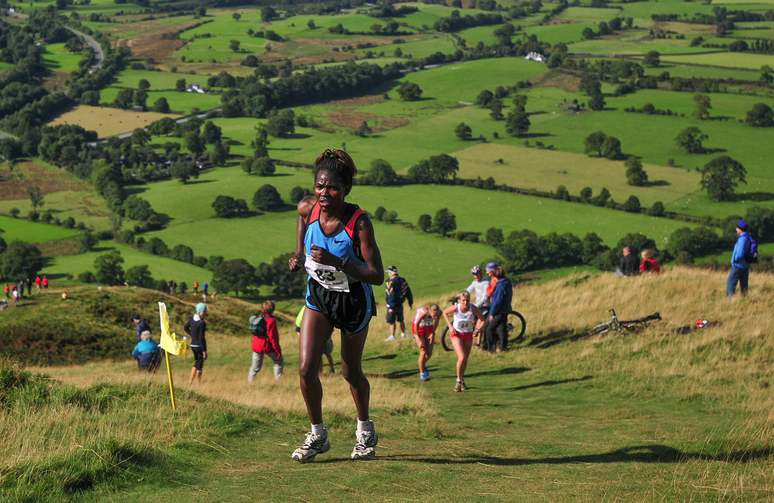 I shot this event for the I.A.U. in Keswick in September 2009. Here Pamela Bundotich of Kenya chases down the leaders in the Womens' Fell Race on Latrigg. She went on to win the bronze medal.