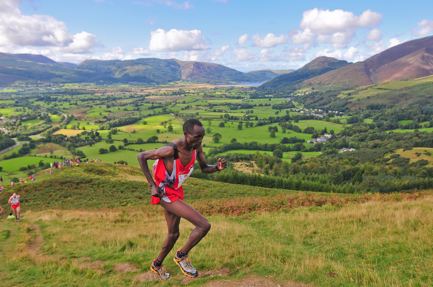I shot this event for the I.A.U. in September 2009. This is Wilson Chemweno on his way to a second gold medal in the mens' fell race.