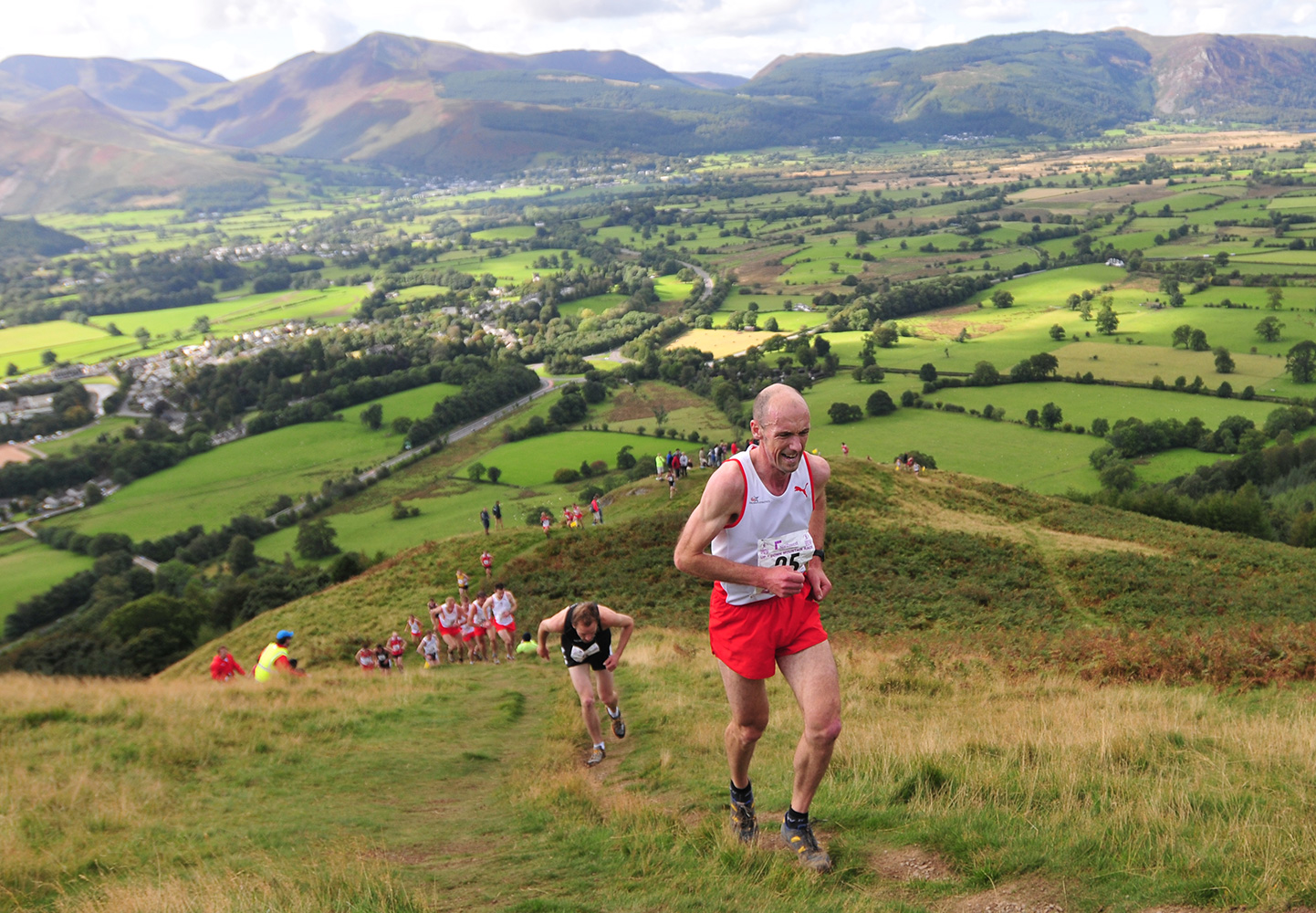 I shot this event for the I.A.U. in Keswick in September 2009. This is John Brown of England leading the field chasing Wilson Chemweno in the Mens' Fell Race.