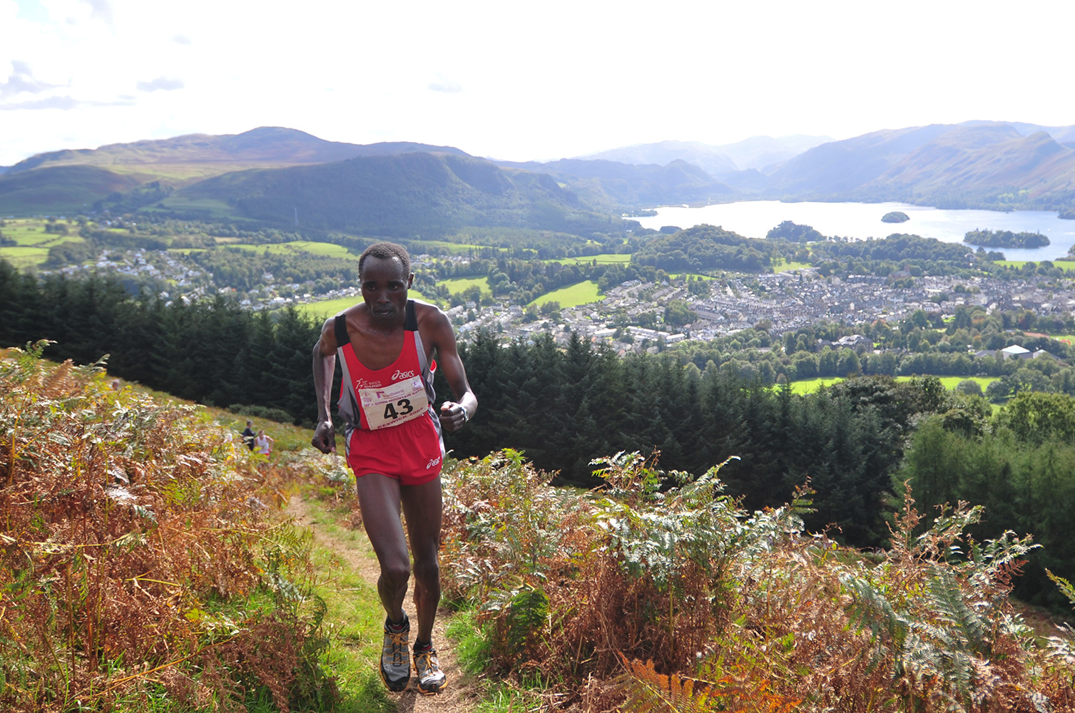 I shot this event for the I.A.U. in Keswick in September 2009. This is Wilson Chemweno of Kenya in the lead and heading for victory on his second lap in the mens' up and down mountain race.