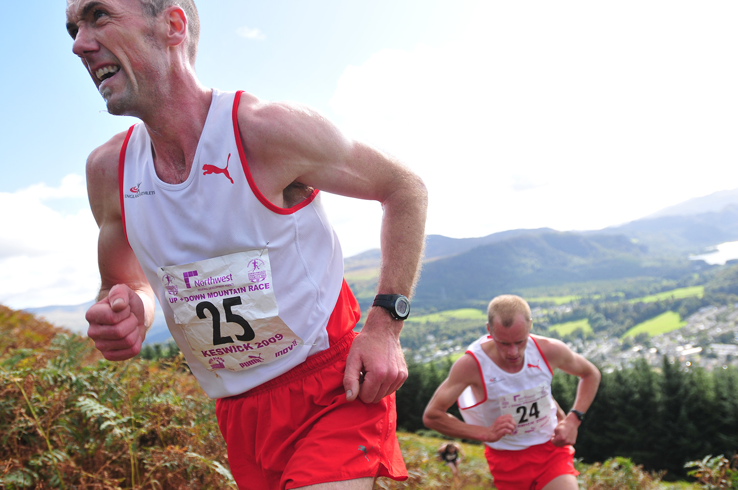 I shot this event for the I.A.U. in Keswick in September 2009. Here John Brown  Shows the strain of chasing Wilson Chemweno in the Mens' Fell Race