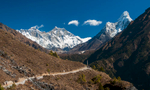 En route from Namche Bazaar to Tengboche, with Everest etc ahead.Nikon D300, 17-35mm. November 2008