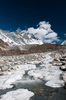As winter approaches, the upper reaches of this river begin to freeze over. The terminal moraine of the Lhotse Nup glacier is beyond, with the south face of Lhotse towering above.Nikon D300, 17-35mm. November 2008