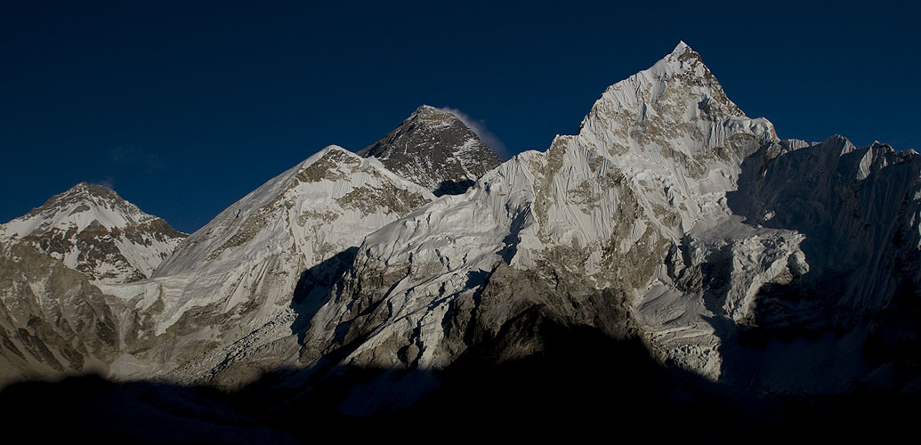 The most famous mountain panorama in the world? Everest, Nuptse, Lingtren etc bathed in late afternoon light, seen from the summit of Kala Pattar (5550m)Nikon D300, 17-35mmNikon D300, 50mm