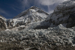 At Everest BC, with the Khumbu icefall in the foreground and Khumbutse (6665m) and the Lho La (aka NW Col, 6026m) beyondNikon D300, 17-35mm