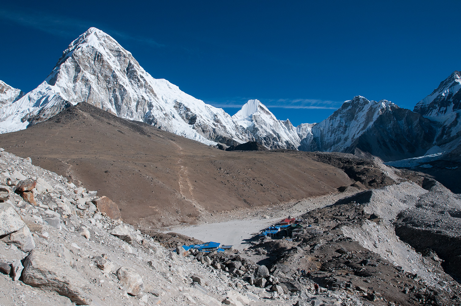 This collection of tea-houses and lodges is the highest place most trekkers to Everest spend the night. The trekkers' trails up to the Everest viewpoint on the summit of  Kala Pattar are clearly visibleNikon D300, 17-35mm