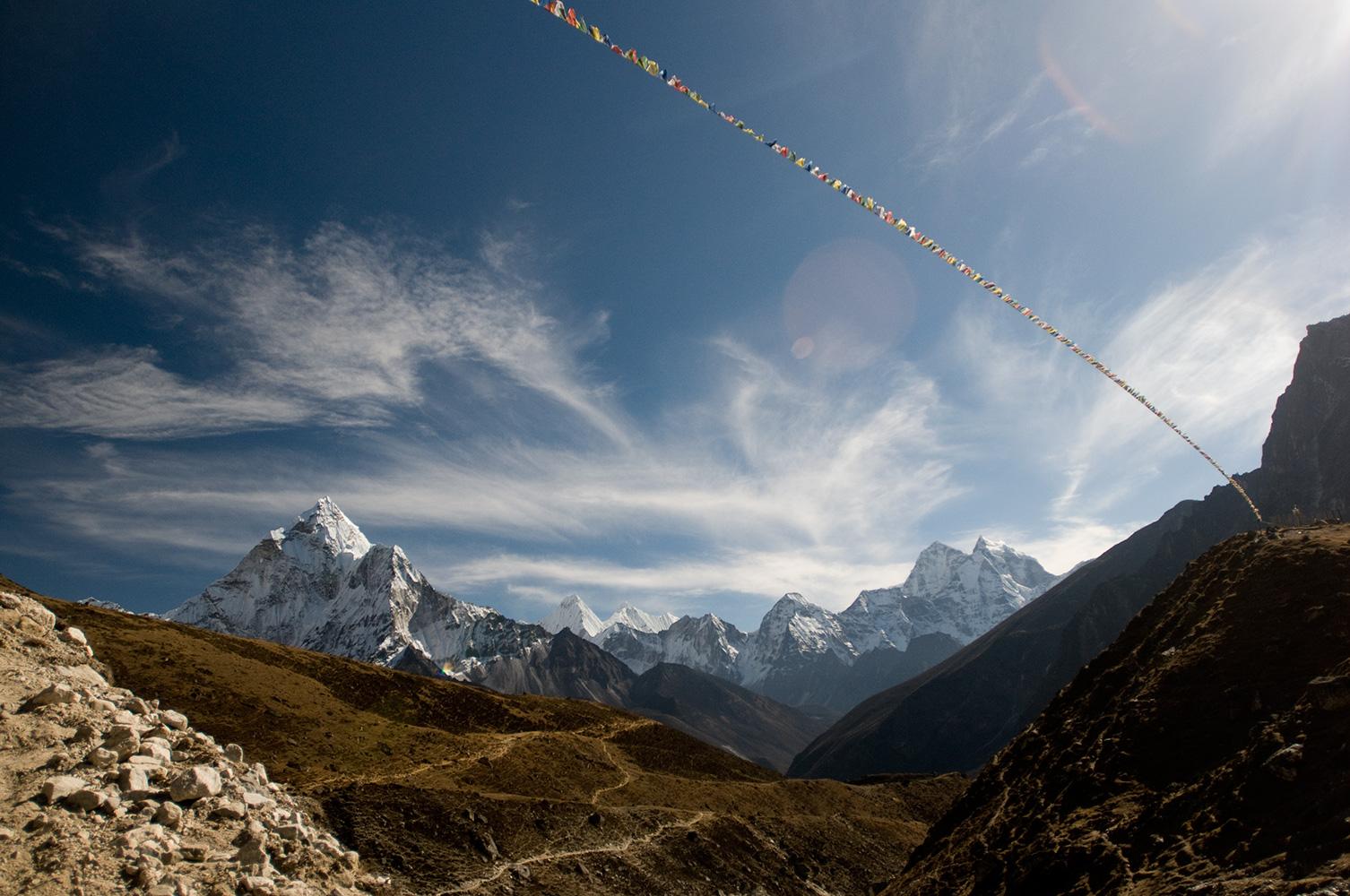 Ama Dablam, Melanphulan & Thamserku under a wintry sky in the Khumbu. December 2008Nikon D300, 17-35mm