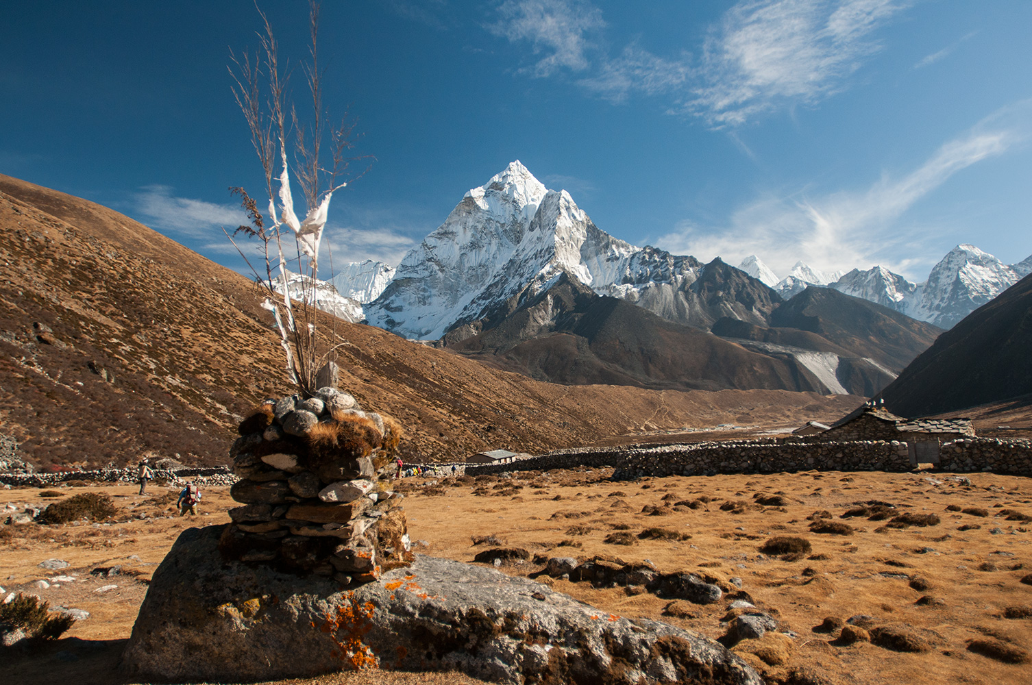 Ama Dablam, Melanphulan & Thamserku dominating the magnificent skyline south of the village of Periche (4240m)Nikon D300, 17-35mm. December 2008