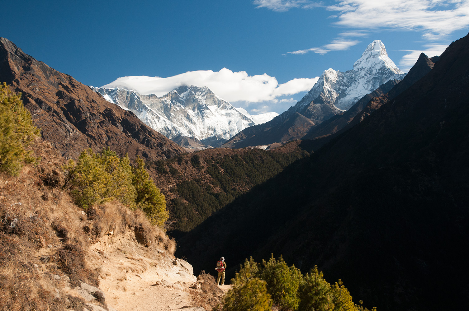 CK Ho of the Hong Kong Emerald Hiking Team pauses to take a final look at the high peaks of the Khumbu before the trail turns and dives back to Namche Bazaar at the end of our trek to Everest Base Camp in December 2008Nikon D300, 17-35mm