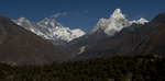 Looking north to Thyangboche, Everest & Ama Dablam from just above Khunde villageNikon D300, 17-35mm