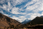 A view up valley from near Khumjung, under a winter sky.Nikon D300, 17-35mm. December 2008