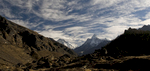 The view into the Khumbu from just above Khunde, under a wintry December skyNikon D300, 17-35mm