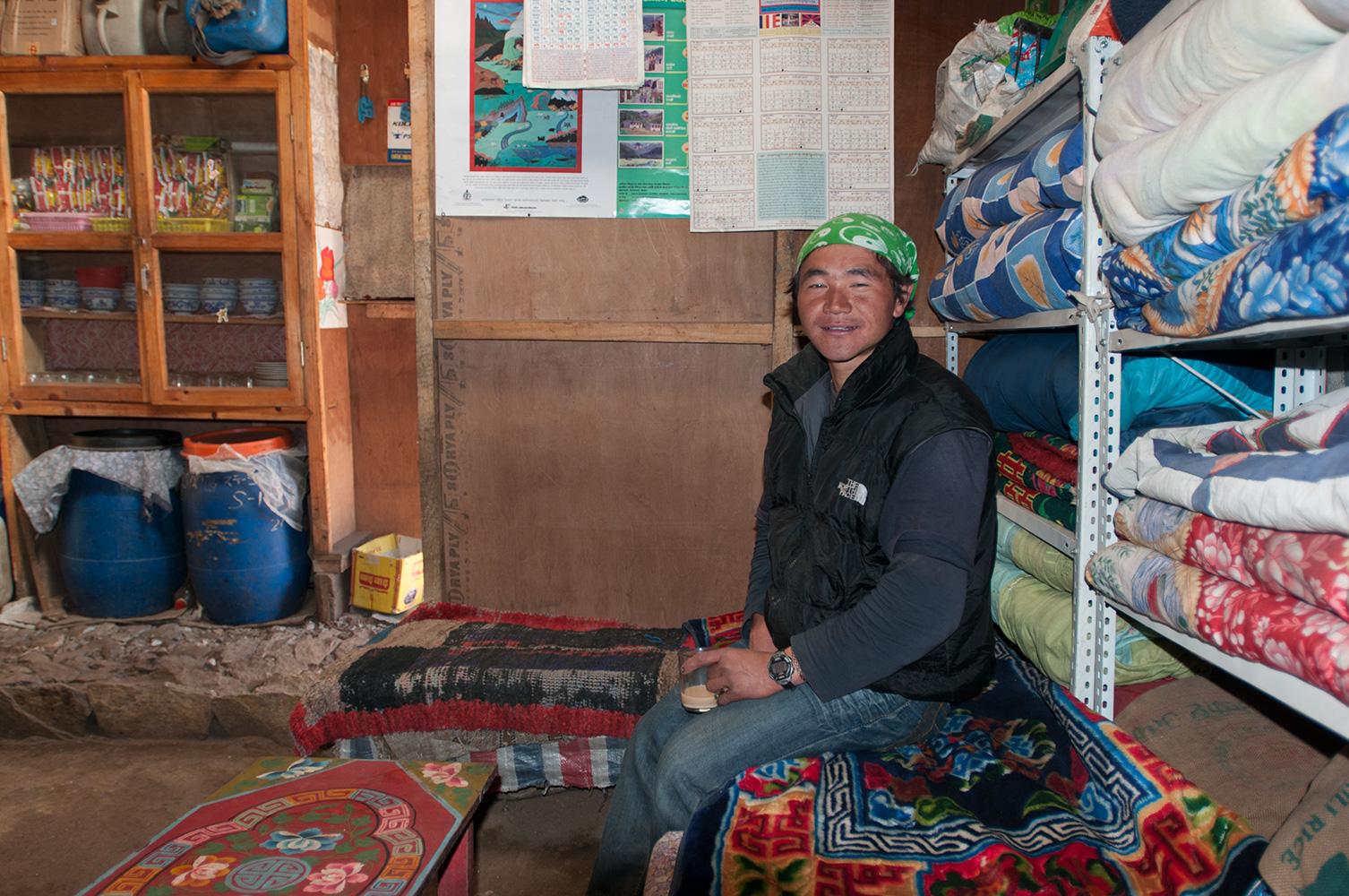 Taking a break in a tea shop. December 2008
