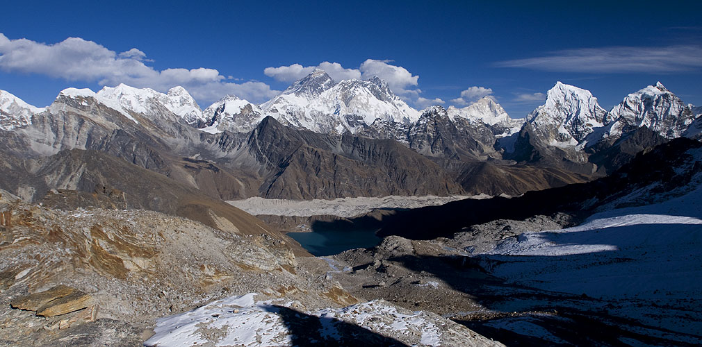 Panorama view showing Gokyo and the Ngozumpa Glacier with a panorama of Khumbu peaks including, from left to right; Pumori (7165m), Changtse (7583m), Everest (8858m) Nuptse (7879m), Lhotse (8516m), Makalu (8485m), Cholatse (6440m) & Taboche (6542m)Nikon D300, 17-35mm