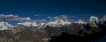 Panorama view showing Gokyo and the Ngozumpa Glacier with a panorama of Khumbu peaks including, from left to right; Hungchi (7036m), Pumori (7165m), Changtse (7583m), Everest (8858m) Nuptse (7879m), Lhotse (8516m), Makalu (8485m), Cholatse (6440m) & Taboche (6542m)Nikon D300, 17-35mm