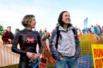 Event organiser Cheryl Frost (L) and friend at the start.