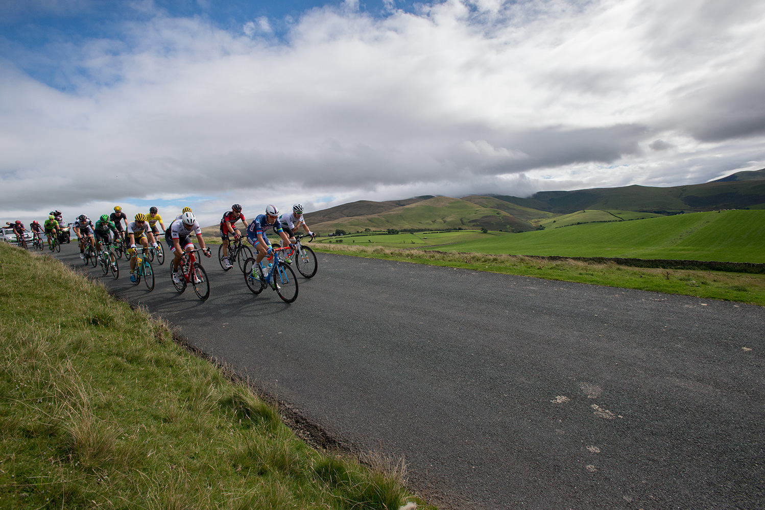Xandro MEURISSE of Belgium leads the breakaway group over Caldbeck Commons in Cumbria on Stage 2