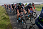 Bradley Wiggins and riders from Teak Sky in the peleton as it crosses Caldbeck Commons in Cumbria during Stage 2
