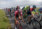 The peleton at the start of the descent from Caldbeck Commons into Uldale in Cumbria