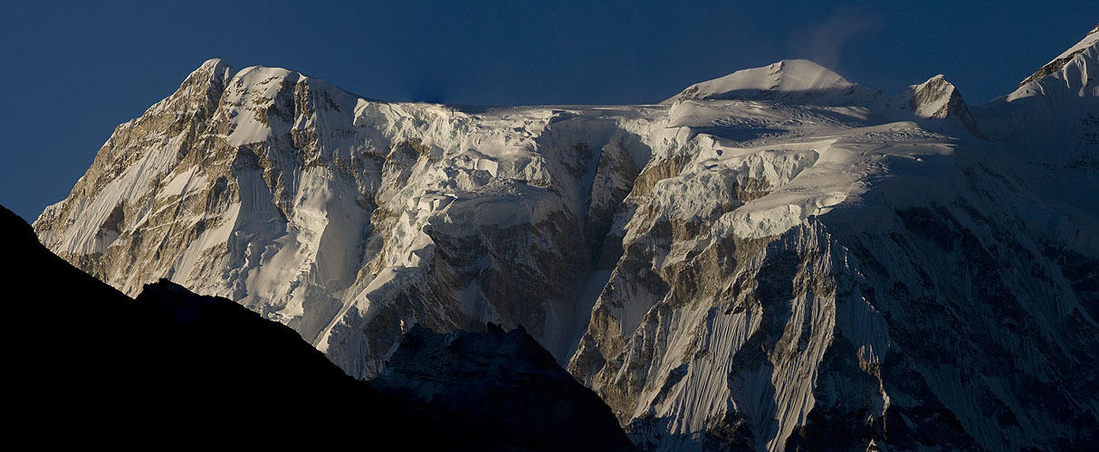 The western flanks of this 8201m peak, at sunset from GokyoNikon D300, 180mm(Stitch of two images)