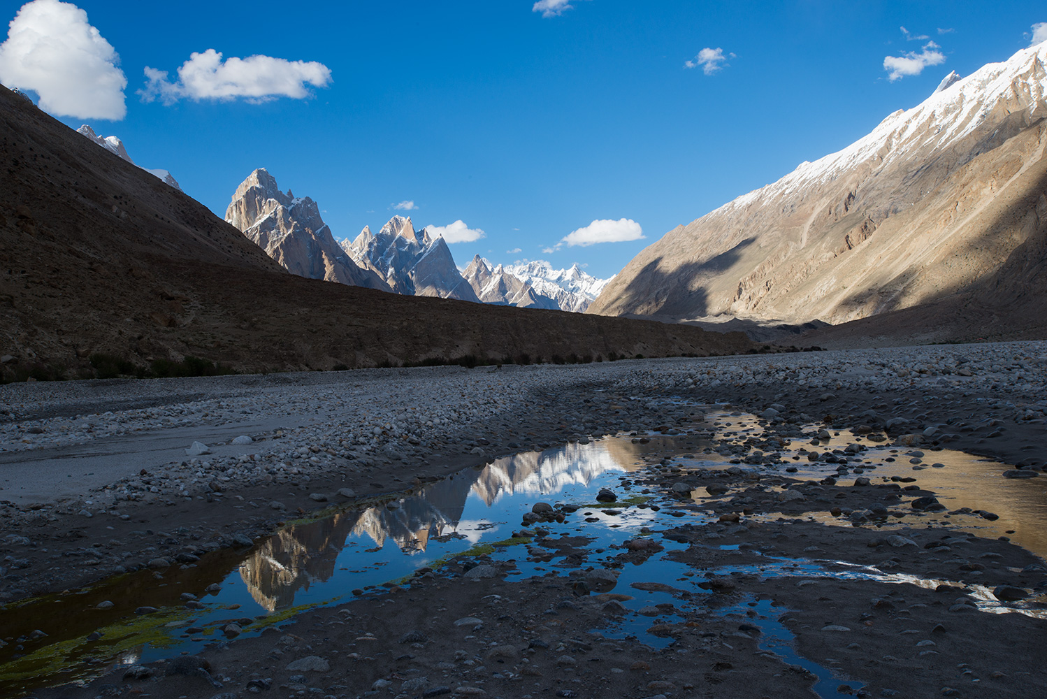 The view up valley from Paiju, reflected in pools of water on the valley floor.