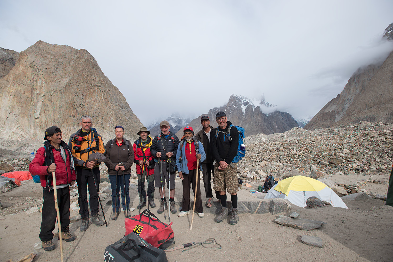 Leaving camp for the hike up to UrdokasL to R; Yahya Khan, Kristof Kinget, Caroline Mattelaer, Sandy Masson, Jim Hartill, Mohd Ali, Ghulam Hussein & Glenn Cunningham