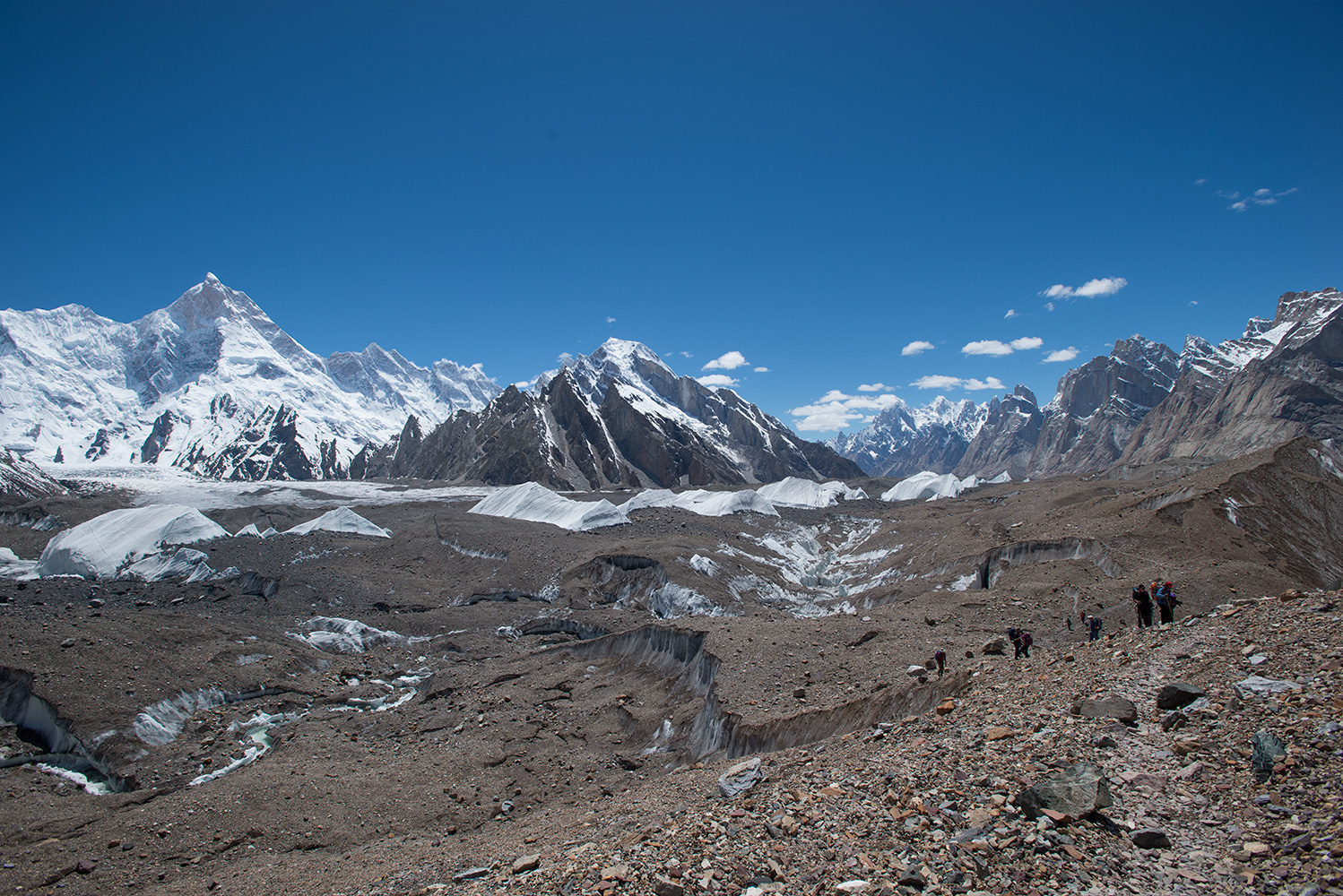 A view back down the Baltoro to the Trangos etc, and up the tributary Yermenandu glacier to Masherbrum