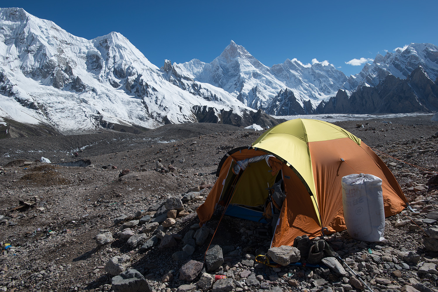 On the Baltoro glacier, with Masherbrum etc beyond