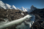 A long exposure shot of a glacial stream with Masherbrum beyond.Taken using a Lee Filters Big Stopper, giving a 15 second exposure.