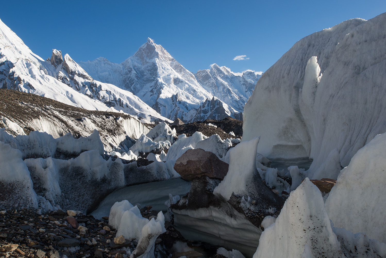 Seen through the labyrinthine ice contortions on the Baltoro glacier st Goro