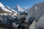 Seen through the labyrinthine ice contortions on the Baltoro glacier st Goro